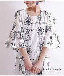 Sawa a la mode/花柄モチーフ刺繍の五分袖コットンチュニック/502984638