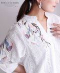 Sawa a la mode/花刺繍のコットンスキッパーシャツ/502984646