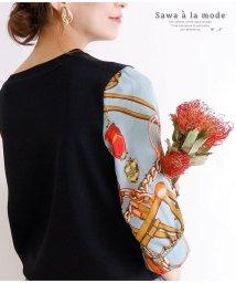 Sawa a la mode/スカーフ模様袖のサマーニットトップス/502987467