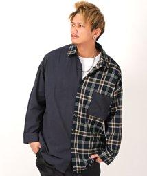 LUXSTYLE/切り替えチェック柄シャツ/長袖シャツ メンズ チェック柄 大きいサイズ/502988418
