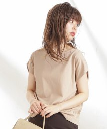 NICE CLAUP OUTLET/【natural couture】袖口タック強撚サラっとTシャツ/502976563