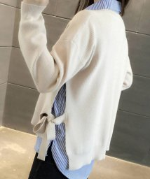 miniministore/ニットトップス リボンセーター シャツレイヤード レディースファッション 秋冬春 長袖 2点セット/502995818