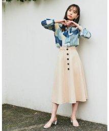REDYAZEL/ボンディング配色ステッチフレアースカート/502888821