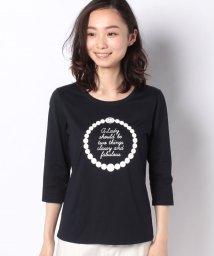 MADAM JOCONDE/【洗える】コットン天竺 プリント七分袖Tシャツ/502986497