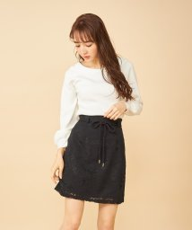 MIIA/フラワー刺繍コットン台形スカート/502996360