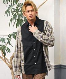 LUXSTYLE/チェック×無地切替ビッグシャツ/長袖シャツ メンズ シャツ ビッグシルエット チェック柄 無地 切替/502998973