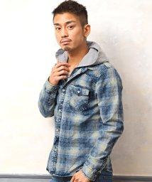 LUXSTYLE/インディゴチェックフェイクフードジャケット/ジャケット メンズ インディゴ チェック柄 シャツ/502998974