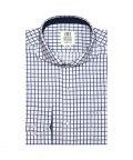 BRICKHOUSE/ワイシャツ 長袖 形態安定 ホリゾンタル ワイド 白×ネイビーチェック スリム/502999499