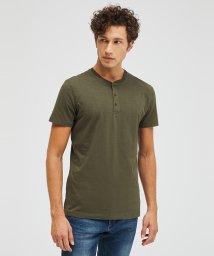 SISLEY/コットンスラブヘンリーネック半袖Tシャツ・カットソー/502941488