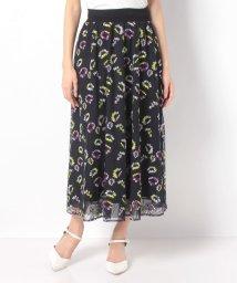 Leilian/フラワー刺繍チュールフレアスカート/502966528