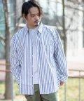 Nylaus/ビッグシルエット ストライプ柄 長袖 カジュアルシャツ/503001257