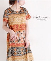 Sawa a la mode/エスニック模様の半袖フレアワンピース/503003225