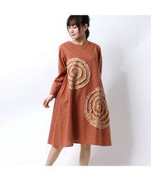 KANKAN/カンカン KANKAN ぐるぐるリボン刺繍ドレス (オレンジ)/502932006