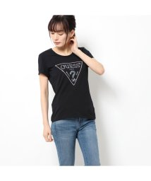 GUESS/ゲス GUESS SPARKLE TRIANGLE LOGO ROUND-NECK TEE (JET BLACK)/502943963