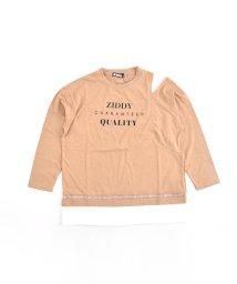 ZIDDY/【ニコプチ掲載】レース ロゴ 肩開き ロング Tシャツ(130cm~160cm)/502959888