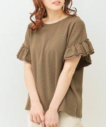SocialGIRL/フリル袖ワッフルクルーネックTシャツ/501945915