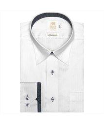 BRICKHOUSE/ワイシャツ 長袖 形態安定 スナップダウン 白×ヘリンボーン織柄 スリム/503010290