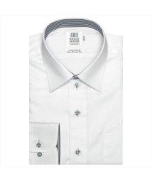 BRICKHOUSE/ワイシャツ 長袖 形態安定 レギュラー 綿100% 白×ストライプ織柄 スリム/503010291
