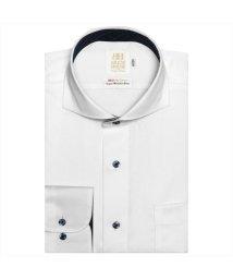 BRICKHOUSE/ワイシャツ 長袖 形態安定 ホリゾンタル ワイド 白×ドット スリム/503010294