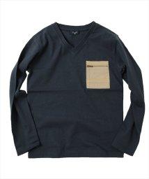 GLAZOS/天竺・異素材ポケットVネック長袖Tシャツ/503010452