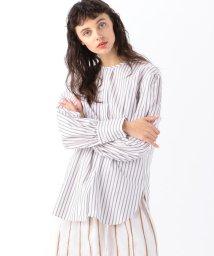 MACPHEE/コットンブロード ノーカラーチュニックシャツ/503012626