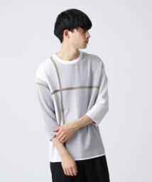 tk.TAKEO KIKUCHI/ジュウジ柄 オーバーサイズニットソー(7分袖)/502923304