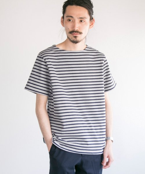 【44%OFF】 アーバンリサーチ アウトレット バスクTEE メンズ グレー×ネイビー S 【URBAN RESEARCH OUTLET】 【タイムセール開催中】