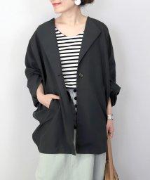 FUNNY COMPANY+/エステルピーチノーカラードルマンシャツジャケット/503019553