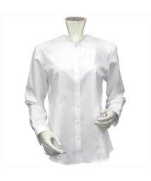 BRICKHOUSE/ウィメンズシャツ 長袖 形態安定 スキッパー衿 ヘリンボーン織(透けにくい白)/503021860