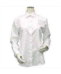 BRICKHOUSE/ウィメンズシャツ 長袖 形態安定 ワイド衿 白×市松格子織柄(透けにくい白)/503021862