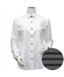 BRICKHOUSE/ウィメンズシャツ 長袖 形態安定 ワイド衿 白×織柄(透けにくい白)/503021863