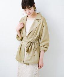 haco!/とろみ素材とウエストリボンで女っぽ コートよりも気軽に羽織れるトレンチジャケット/502999668