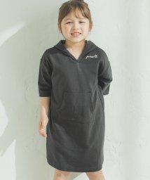 pairmanon/ミニ裏毛 スウェット 5分袖丈 ロゴ 刺繍 パーカーワンピース パーカーワンピ/502976020