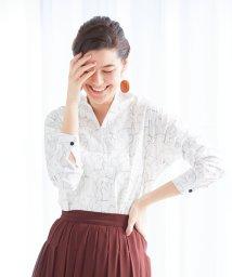 NARA CAMICIE/キャットプリント長袖スキッパーシャツ/503013939