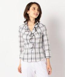NARA CAMICIE/チェックスーパーストレッチ襟付きフリル七分袖シャツ/503013953