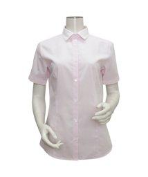 BRICKHOUSE/ウィメンズシャツ半袖形態安定 ワイド衿 ピンク×斜めストライプ織柄/503024646