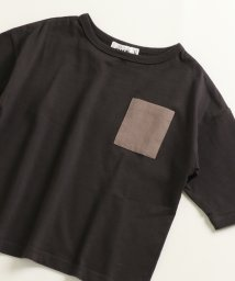 pairmanon/ユニセックス ワイド ポケット付き バイカラー ロゴプリント 5分袖丈 Tシャツ カットソー/502962262