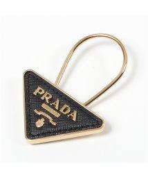 PRADA/【PRADA(プラダ)】1PP301 053 F0002 三角ロゴプレート メタル×レザー チャーム キーリング キーホルダー NERO レディース/503019933