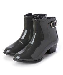 masyugirl/マシュガール masyugirl 【3E/幅広ゆったり・大きいサイズの靴】 ベルト使いレインブーツ (ダークグレーエナメル) SOROTTO/503032030