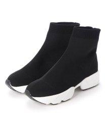 masyugirl/マシュガール masyugirl 【4E/幅広ゆったり・大きいサイズの靴】 ソックス風スニーカーブーツ (ブラックホワイト) SOROTTO/503032072