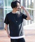 Nylaus/SKKONE シアサッカー ネックレス付き 裾フェイクレイヤード 半袖Tシャツ/503041206