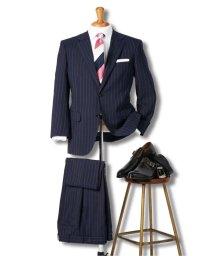 GRAND-BACK/【大きいサイズ】グランバック/GRAND-BACK ウール混ナチュラルストレッチ2釦2ピーススーツ 紺ストライプ/503050335