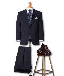 GRAND-BACK/【大きいサイズ】グランバック/GRAND-BACK トラベスト/TRABEST 2釦2パンツスーツ 紺ウィンドペン/503050337