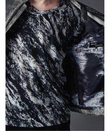 semanticdesign/シェラック/SHELLAC 墨流し総柄Vネック長袖ロングTシャツ/503051014