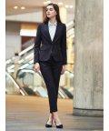 m.f.editorial/高機能ポリエステル 1釦ジャケット+スカート+パンツ 紺ストライプ/503051554