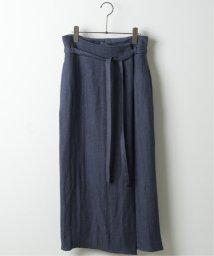 mjyuka/リネンヘリンボンラップ風スカート /503052428
