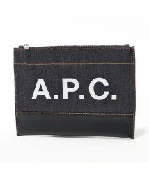 A.P.C./【APC A.P.C.(アーペーセー)】CODDP M63380  IAK pochette axel デニム×レザー フラットポーチ クラッチバッグ DARK/503044724