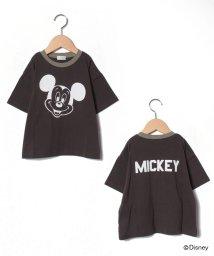 b-ROOM/【DISNEY】 ミッキーデザイン 衿配色ビッグTシャツ/503031594