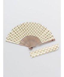 KAYA/【カヤ】紳士用 金市松扇子 袋付き 7XCP0101/503056170