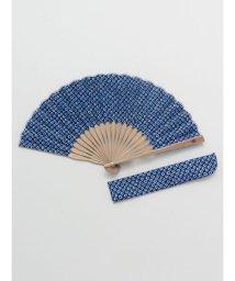 KAYA/【カヤ】紳士用 藍鹿の子しぼり扇子 袋付き 7XCP0102/503056171
